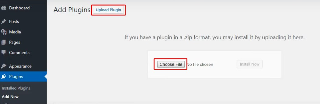 upload plugin WPw3schools Plugins and Themes