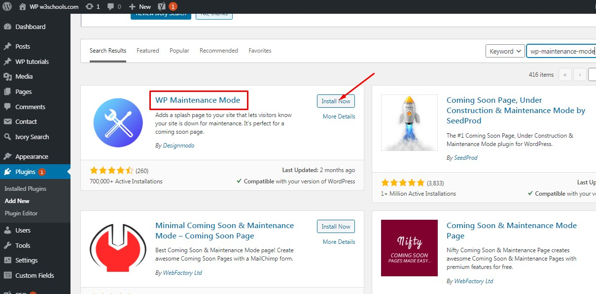 wp mainteneace WPw3schools Plugins and Themes